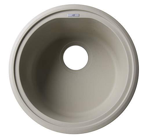 (ALFI brand AB1717DI-B Drop-In Round Granite Composite Kitchen Prep Sink, 17