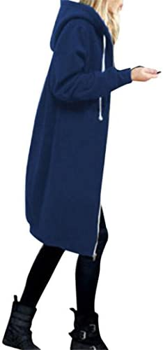Mose New Fashion Women Plus اندازه زمستان گرمکن زیپ باز Hoodie بلند کت بلند لباس