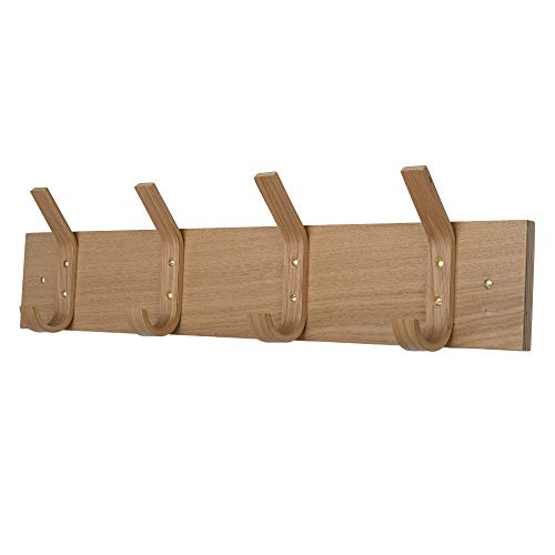 Bedroom Oak Coat Rack - Wooden Wall Mounted Coat Rack 4 Single Sturdy Hooks for Use in Bedrooms Bathrooms Hallways Scandi Style (Oak)