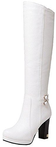 Boots Platform Knee High White (SHOWHOW Women's Casual Platform Knee High Chunky Heel Boots White 7 B(M) US)