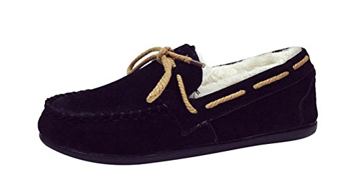 Passionow Women's Winter Slip-on Warm Soft Faux Fur Lining Moccasins Flat Suede Loafer Slippers (7.5 (Hello Sexy In Spanish)