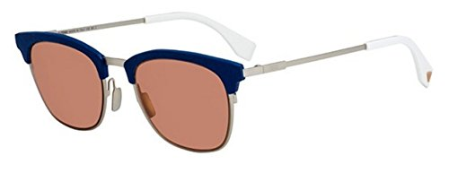 New Fendi QBIC FF 0228/S J2B/4S Silver Dark Blue/Burgundy Sunglasses