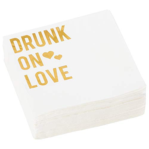C.R. Gibson White and Gold 'Drunk On Love' Beverage and Cocktail  Napkins, 40pc, 5'' W x 5'' - Love Beverage Napkins