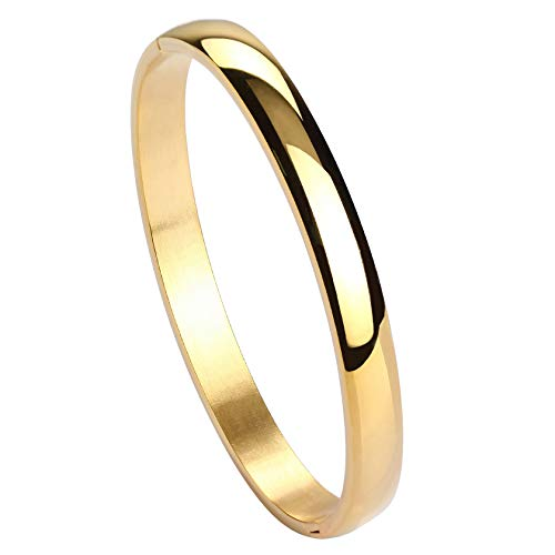 MILAKOO Polished Stainless Steel Bracelet Classical Band Bangle for Womens Gold - Gold Bangle Steel Stainless