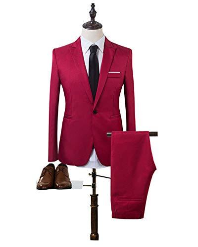 Bozevon Slim Costume Ensemble Pantalons Vestes Et Costumes Rouge Formelles 2 Blazers Pièces Manches Fit Blazer Longues De Hommes rXpqUr