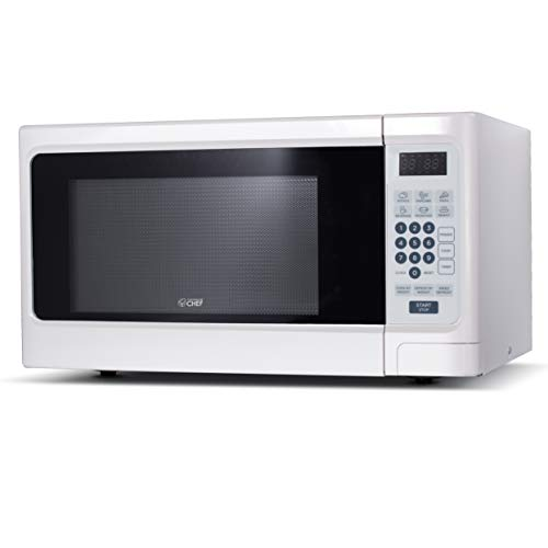 Commercial Chef CHCM11100W Countertop Microwave, White (Space Saver Microwave Oven)