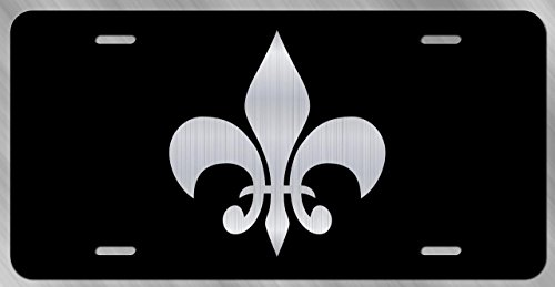 (Fleur De Lis License Plate Tag Vanity Novelty Metal | Etched Aluminum | 6-Inches by 12-Inches | Car Truck RV Trailer Wall Shop Man Cave | VLP726)