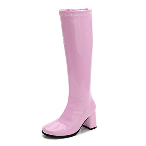 LIURUIJIA Women's Go Go Boots Over The Knee Block Heel Zipper Boot Pink-35(225/US6.5) (Pink Riding Boots For Women)