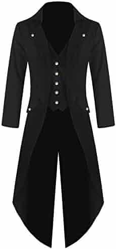 973726c85551 Sunyastor Men s Steampunk Tailcoat Victorian Jacket Gothic Costume Vintage  Tuxedo Viking Renaissance Pirate Party Coats