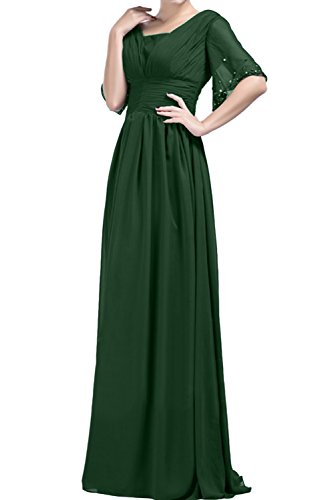 Promkleid Ivydressing Abendkleider Linie Ballkleider Dunkelgruen Mit Lang Chiffon Damen Aermeln A rxq8gr
