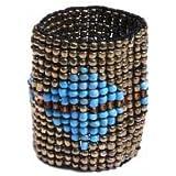 Bracelet Semi Rigide Multi Rangs - Perles Rocaille Doré et Bléu - Elastique