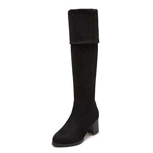 Heels Boots Glass BalaMasa Black Chunky Imitated Foldable Suede Diamond Womens USq6EBqwx