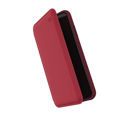 Speck Products Presidio Folio Leather iPhone Xs Max Case, Rouge Red/Garnet Red/Currant Jam Red