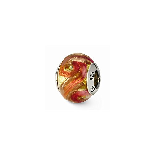 Sterling Silver s Yellow/red/orange Italian Murano Bead by Reflection Beads (Orange Italian Murano Bead)