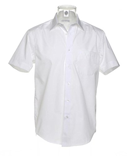 Kustom Kit Herren Doppel Gefalteter Nähte Eingegossen Kragen Business Kurzärmeliges Hemd - Weiß, 17