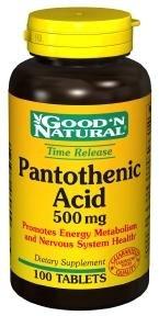 Acide pantothénique (libération lente) 500 mg, 100 comprimés, Good 'N naturelles