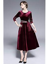 Ababalaya - Vestido de noche de terciopelo con cuello redondo y manga 3 4