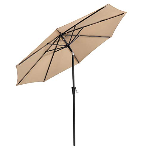 9' Silver Aluminum Pole - SONGMICS 9 ft Patio Umbrella, Outdoor Table Umbrella, Sun Shade, Octagonal Polyester Canopy, with Push Button Tilt and Crank Mechanism - for Gardens, Balcony and Terrace (Beige) UGPU09BEV1
