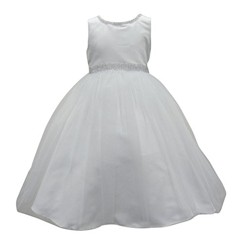 Square Neckline Satin (Little Girls Off-White Beaded Glitter Neckline Waist Satin Flower Girl Dress 6)
