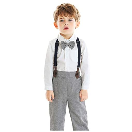 Baby-Boys-Clothes-Dress-Shirt-with-Bowtie-Suspender-Pants-6-Months-6-Years