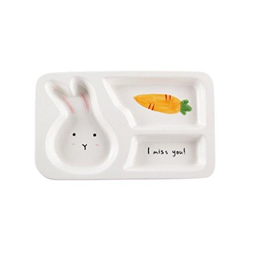 Baoblaze Non-toxic Ceramics Safe Kids Divided Dinner Plate, for Food Soup Eating Utensil, Toddlers Dinnerware Baby Feeding Tray - Rabbit, (Ceramic Divided)