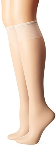 (Hanes Silk Reflections Women's 2-Pack Knee High Sandalfoot, Pearl, One Size)