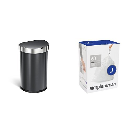 simplehuman 45L Semi-Round Sensor Trash Can, Black Stainless