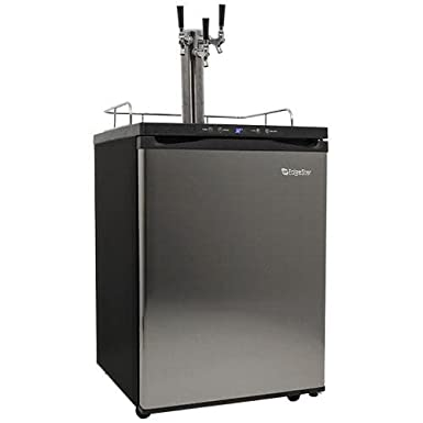 EdgeStar KC3000SSTRIP Full Size Triple Tap Kegerator with Digital Display - Black and Stainless Steel