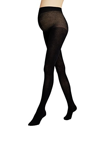 """Maternity Tights Black Plus Gatta [Made in Europe] (3(M) 5'4""""-5'8"""", 128-160 lbs) (Textured Tights Cotton)"""