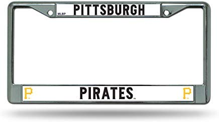 GRAETfpeoglsd Pittsburgh Pirates Official MLB 12 inch x 6 inch Chrome License Plate Frame by Rico Industries