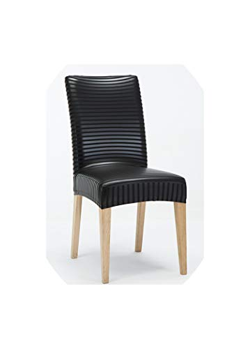 Thick Waterproof Stretch PU/PVC Dining Chair Covers One Piece Universal Spandex Home Chair Restaurant Chair Cover,Black Stripe,Back 40 to 55cm