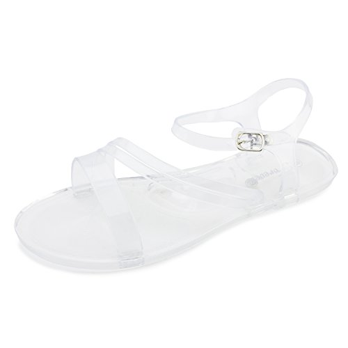 Link Clear Jelly Ankle Womens Sandals Clear Open Adults Buckle Strap Toe zZzxrwq
