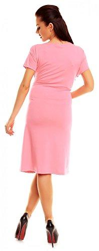 Zeta Ville - De Las Mujeres Maternidad Envolver V-cuello Verano Vestido - Corto Mangas - 108C Polvo de Color Rosa
