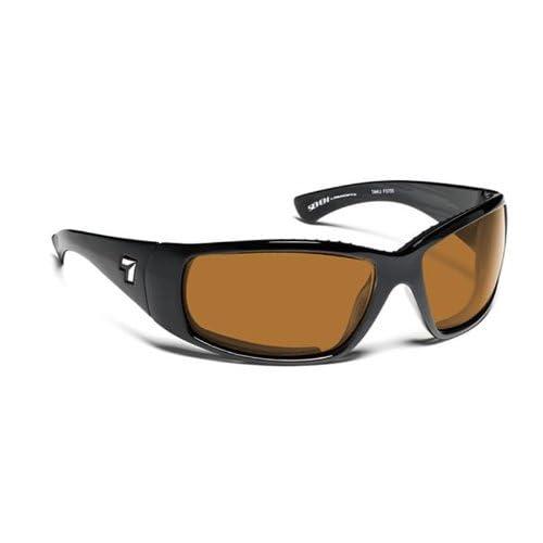 7 Eye Taku Full Wrap Sunglasses, Glossy Black Frame, Sharp View Copper Lens