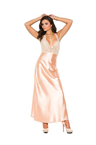 Hot Spot Women's Lace and Charmeuse Halter Neck Gown - Lingerie Sexy Charmeuse Long Gown