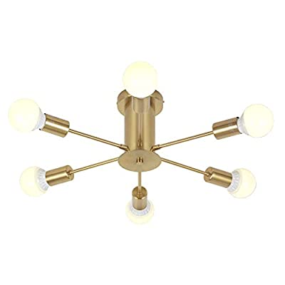 VINLUZ Flush Mount Ceiling Light Modern Sputnik Chandelier