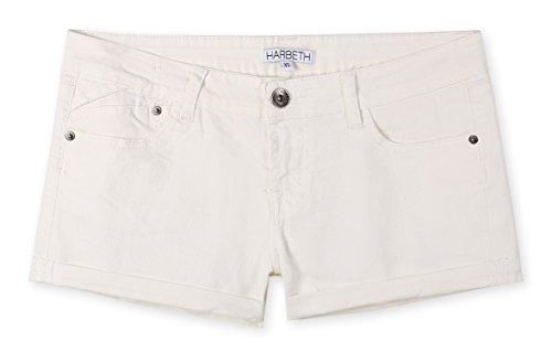 HARBETH Women's Juniors Casual Stretch Fit Low Rise Pockets Trendy Denim Shorts Off White M