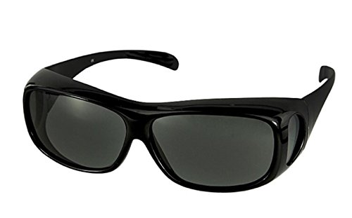 Polarized Fit Over Sunglasses Wear Over Cover Over Prescription Glasses, Medium, Black (Carrying Case - Shades Over Glasses Sun