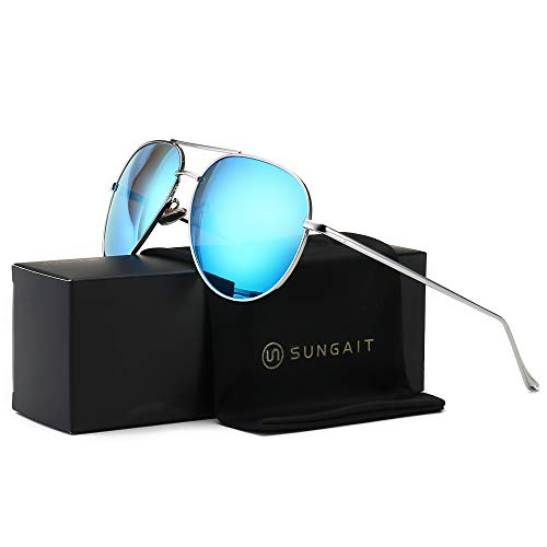 (SUNGAIT Women's Lightweight Oversized Aviator Sunglasses - Mirrored Polarized Lens Sliver Frame/Blue Mirror Lens, 60)1603YKL)