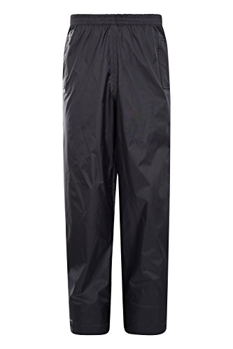 Mountain Warehouse Pakka Kids Rain Pants - Waterproof Pants Black 11-12 years