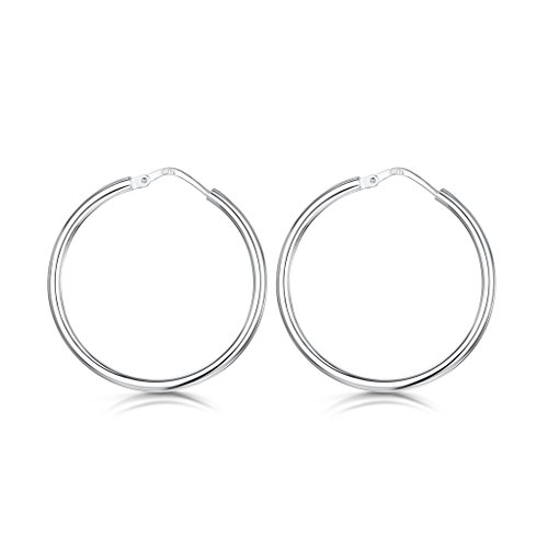 Amberta® 925 Sterling Silver Fine Circle Hinged Hoops - Round Creole Sleeper Earrings Diameter Size: 7 10 15 20 25 35 45 55 mm w9hdJgJw6