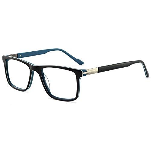 Men Fashion Rectangle Stylish Eyewear Frame with Non-Prescription Clear Lens Glasses OCCI CHIARI Eyewear ()