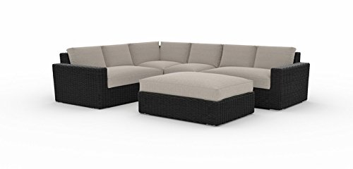 Toja Turo Outdoor Patio Sectional Set (5 pcs) | Wicker Rattan Body with Sunbrella Cushions (Half Round Wicker/Cast Ash)