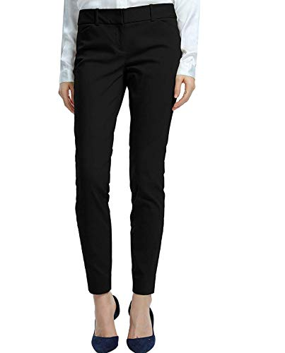 - SATINATO Women's Straight Pants Stretch Slim Skinny Solid Trousers Casual Business Office (16 Regular, Black)