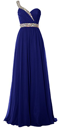 MACloth Women One Shoulder Crystals Long Prom Dress Chiffon Evening Formal Gown (16, Royal Blue) (Fancy Dress Xxxl)