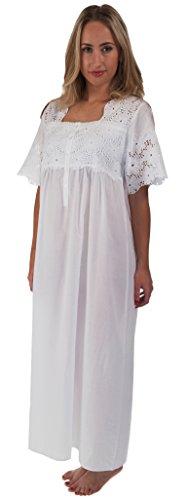 (The 1 for U 100% Cotton Short Sleeve Ladies Nightdgown - Elizabeth (XXL) White)