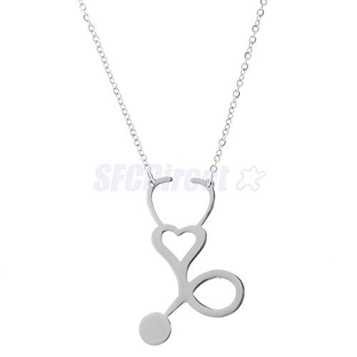 Silver Fashion Men Women Medical Stethoscope Heart Love Body Chain Charm Necklace Gift by sfcdirect