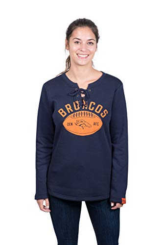 (Icer Brands NFL Denver Broncos Women's Fleece Sweatshirt Lace Long Sleeve Shirt, Navy, Large)
