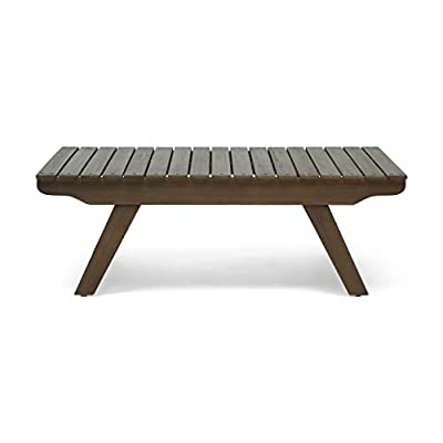 """Christopher Knight Home Kailee Outdoor Wooden Coffee Table, Gray Finish - ACACIA WOOD: Made with acacia wood that brings a sleek and exotic look to your space, this durable hardwood naturally withstands outdoor elements and will not darken over time. Acacia wood is perfect as a solid, heavy frame that resists wear and tear. OPEN SLAT DESIGN: The top of this coffee table features a lovely open slat design with vertical panels for a classic outdoor look. This pattern gives your décor an enlivening accent DIMENSIONS: Choose an accessory that is the perfect size for you and your furniture. This coffee table measures to be 37.00"""" L x 24.00"""" D x 12.50"""" H. You will love how much your space can transform with the simple addition of this table - patio-tables, patio-furniture, patio - 31sgH%2BeNm1L. SS400  -"""