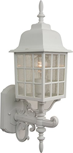04 Grid Cage (Craftmade Z274-04 Wall Lantern with Seeded Glass Shades, White Finish)